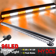 "47"" 96LED 288W Emergency Hazard Warning Double Side Strobe Light Bar Amber White"