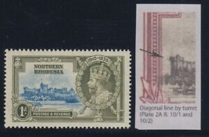 """Northern Rhodesia, SG 18f, MHR """"Diagonal Line by Turret"""" variety"""