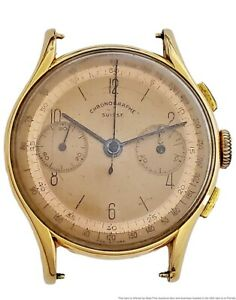 18k Solid Yellow Gold Fancy Lug Running Vintage Swiss Chronograph Wrist Watch