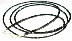 925 Sterling Silver Black Spniel 2 mm Beads Gemstone 12-40'' Strand Necklace