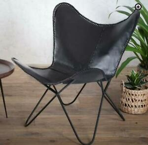 Handmade Genuine Vintage Brown Buffalo Leather Home & Garden Butterfly Chair BKF