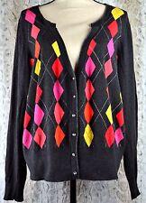 Lane Bryant Argyle Sweater Bright Mult Colors Charcoal Background Size 22/24 E02
