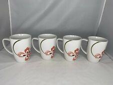 Corelle Coordinates Pretty Pink Square Porcelain White Coffee Cup Mugs set 4