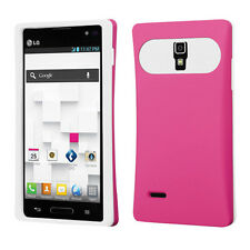 For LG Optimus L9 P769 TPU Candy HYBRID GLOW Case Phone Cover Hot Pink White