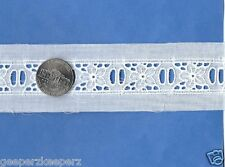 "Swiss WHITE Eyelet/ Bead Insertion COTTON Trim 3/4"" Dolls/ Bears/ Smock NEW BTY"