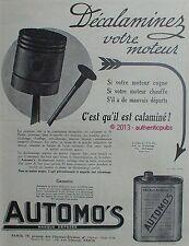 PUBLICITE AUTOMO'S DECALAMINANT POUR MOTEUR AUTO AVION MOTO CANOT DE 1924 AD PUB