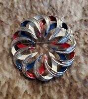 VINTAGE EMMONS Signed Silvertone blue red circle entwined Openwork BROOCH pin