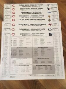 Complete Set (8) 2020 Chicago Bears Home Game Roster Cards Spotters Sheet