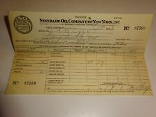 original 1933 Standard Oil Company of New York SOCONY Invoice Receipt 87360