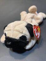 PUGSLY Retired Rare 1996 Ty Beanie Baby Babies NWT Pug Dog W/ PVC Pellets