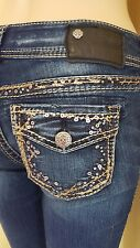 Silver Jeans Co Suki Mid slim Boot Cut 25 x 33 Embellished Dark Distressed Denim