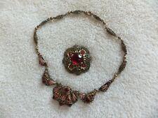 Vintage Costume Jewelry Czech Filigree Necklace & Brooch