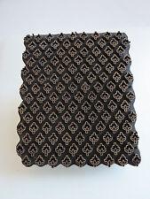 VTG India or Indonesian copper batik hand stamp repeating petite  floral motif