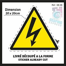 DANGER ELECTRIQUE ELECTRICITE - 20x20cm - STICKERS AUTOCOLLANT ADHESIF - SE-06