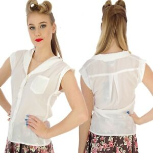 COLLECTIF LEXI WHITE  BLOUSE TOP VINTAGE 50's PIN UP ROCKABILLY VINTAGE SIZE 16