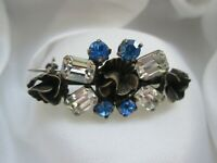 Vintage Stunning Silver Tone Sapphire & Clear Glass Metal Flower Bar Brooch