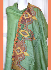 Silk Vintage Sage Green Color Embroidered Long Stole, Wrap, Dupatta, Veil