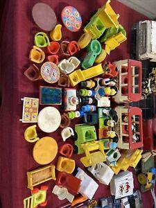 Vintage Fisher Price Little People Figures Furniture Vehicle Lot NICE LOOK