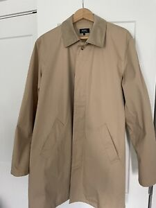 A.P.C. Urban Mac Trench Coat Khaki Tan Mid Length Size L