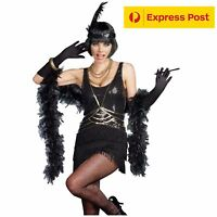Gatsby Costume Black Flapper 1920s Charleston Fancy Dress Party 6 8 10 12 14 16