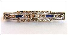 18k White Gold BROOCH with Blue Sapphires & Diamond - FINE DECO JEWEL