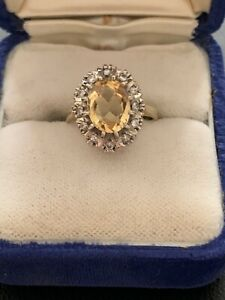 Ladies Vintage 18ct Yellow Gold Citrene & Diamond Ring Size I Scrap Or Keep