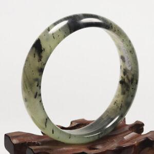 55mm Grade A 100% Natural Black Green Jade Bangle Bracelet Chinese Xiu Jade 6391