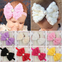 Baby Girl Large Bow Headband Kids Lace Flower Hair Band Head Wrap Christmas Gift