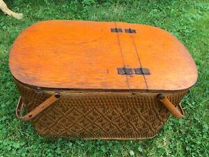 "22"" Vintage Redmon Peru Indiana Picnic Baskets Woven Camper Wood Metal Wicker"