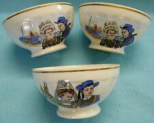 3 bols porcelaine Limoges décors couples bretons liseré or facettes 30 cl