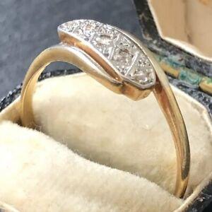 Vintage Art Deco Diamond Five-Stone 18ct Gold Platinum Ring