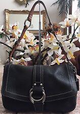 Coach Chelsea Black Pebbled Leather W/ Brown Strap shoulder Bag Purse F10893 EUC