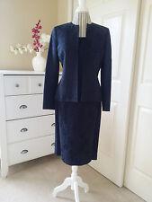 KASPER Ladies 3 Pc Set Jacket-Top-Skirt Suit Navy Blue Brocade Poly/Cotton Sz.8