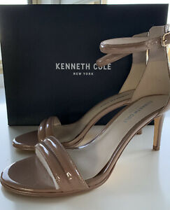 Kenneth Cole New York Excellent Condi Leather 'Mallory' Nude Buckle Heels Size 8