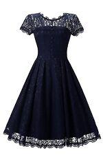 Gigileer Vintage Cocktail Partei Hochzeit  Kleid Spitzenkleid 38 40 42 44 46 48