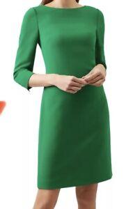 Hobbs  Kali Emerald Green Gold Button Cuffs Tailored Dress Size 10