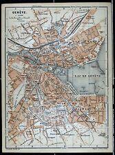 GENF (GENÈVE), alter farbiger Stadtplan, datiert 1901