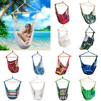 Hammock Chair Bed Patio Porch Yard Hanging Air Swing Seat Rope Wooden Outdoor