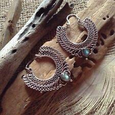 Tribal White Brass Hoop Earrings Silver Plated Labradorite Mandala Filigree 36mm