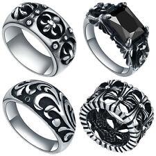 Mens Stainless Steel Vintage Cross, Fleur De Lis, Floral, or Crystal Ring