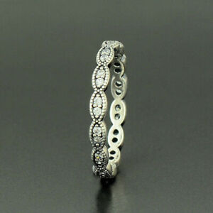 GENUINE S925 SILVER SPARKLING LEAVES STACKING SHIMMERING RING BAND SIZE 54 SALE