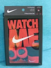 NIKE 3 PIECE INFANT NEW BODYSUIT BEANIE BOOTIES 0 - 6 MONTHS BLACK RED WATCH