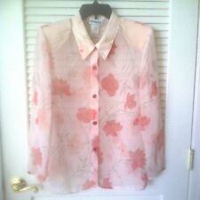 Perceptions Long Sleeve Button Sheer Peach Floral Print Blouse, Size 16