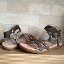 UGG BROWN LEATHER NUBUCK ANKLE WRAP SANDALS, US 7/ 38/ UK 5.5 ~NEW