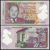 Mauritius 25 Rupees Banknote, 2013, P-64, Polymer, UNC, Africa Paper Money