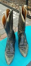 Vintage Black Leather Western Boots Hand Painted Distressed 5.5-6 AA NARROW