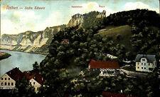 Rathen Sachsen Sächsische Schweiz 1920 Basteifelsen Mönch mit Stempel Arnsdorf