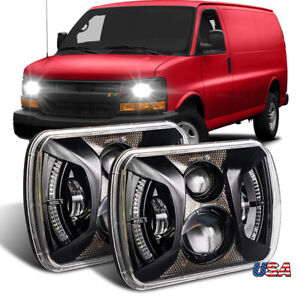 Pair 7x6inch Led Headlight Halo for Chevy Express Cargo Van 1500 2500 3500 Truck