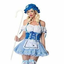 Ladies Sexy Blue/White Bo Peep Halloween Fancy Dress Costume Outfit