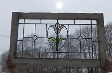 Antique Leaded Stained Glass Window Flower Victorian Cottage Vtg Chic 397-18P